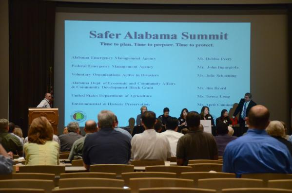 Tuscaloosa, Ala., June 13, 2011 -- Federal Coordinating Officer Albie Lewis leads a panel discussion at the Safer Alabama Summit on mitigation. Mitigation helps reduce the loss of life and property in the event of a disaster.